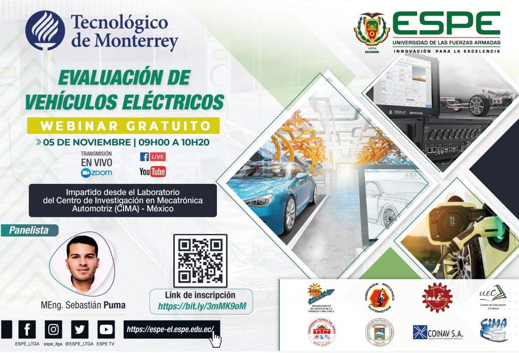 """WEBINAR """"EVALUACIÓN DE VEHÍCULOS ELÉCTRICOS"""" @ La Universidad de las Fuerzas Armadas ESPE Sede Latacunga"""